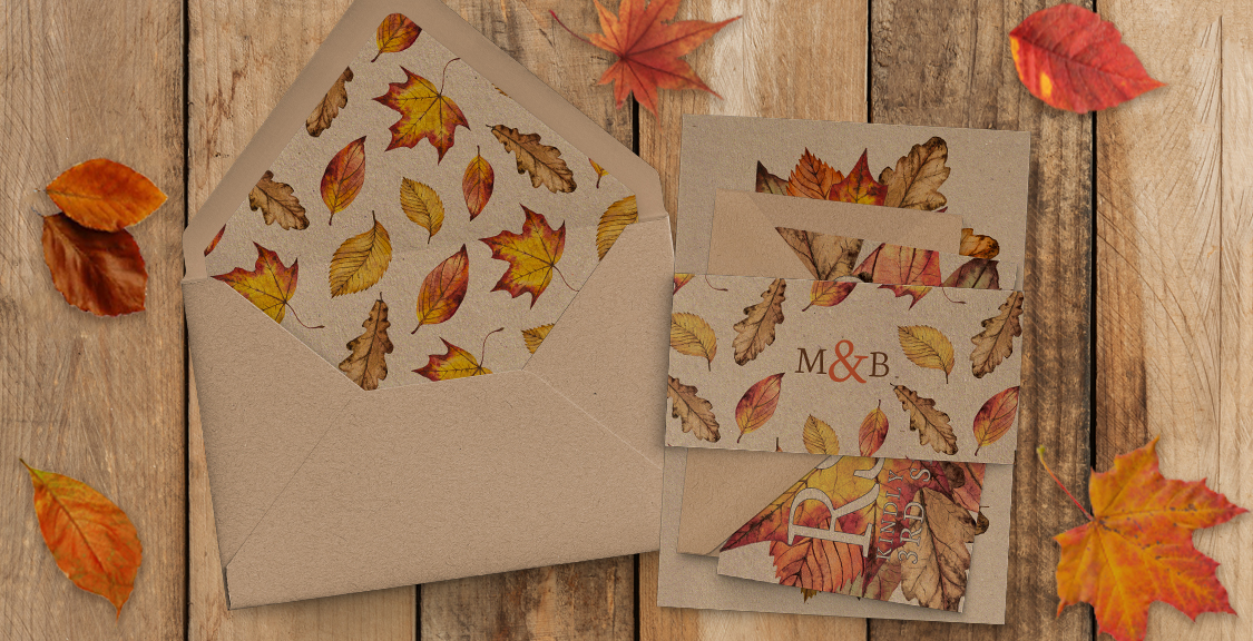 Autumn Leaves Invitations - watercolour painted leaves wedding stationery suite uk - Hawthorne and Ivory