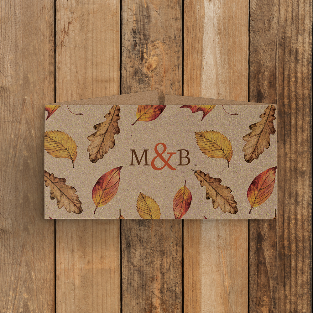 Autumn Leaves Belly Band - watercolour painted leaves wedding stationery suite uk - Hawthorne and Ivory
