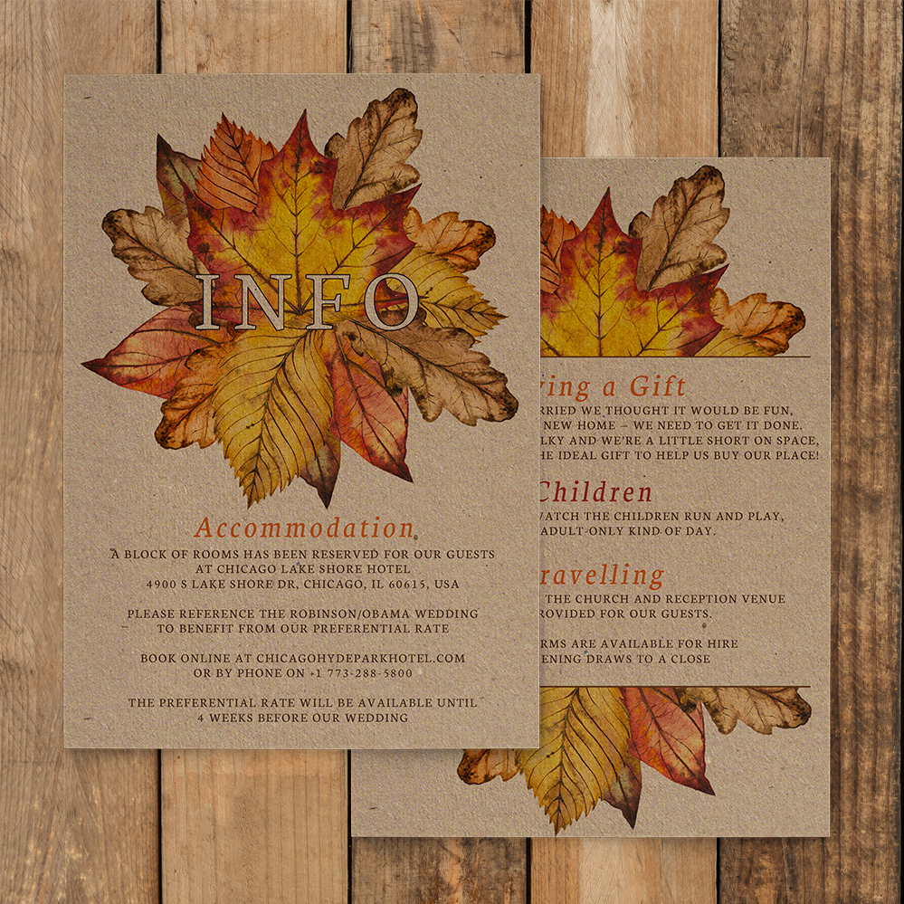 Autumn Leaves Details Card - watercolour painted leaves wedding stationery suite uk - Hawthorne and Ivory