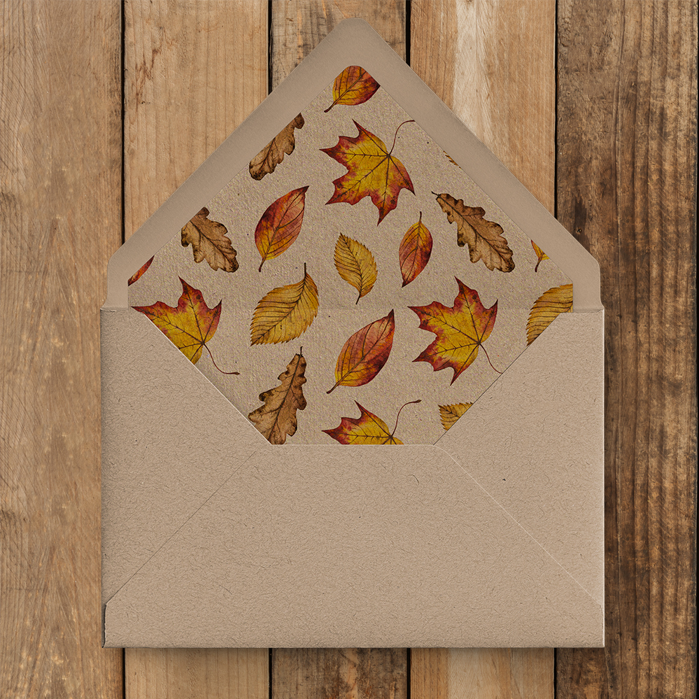Autumn Leaves Kraft Envelope Liner - watercolour painted leaves wedding stationery suite uk - Hawthorne and Ivory