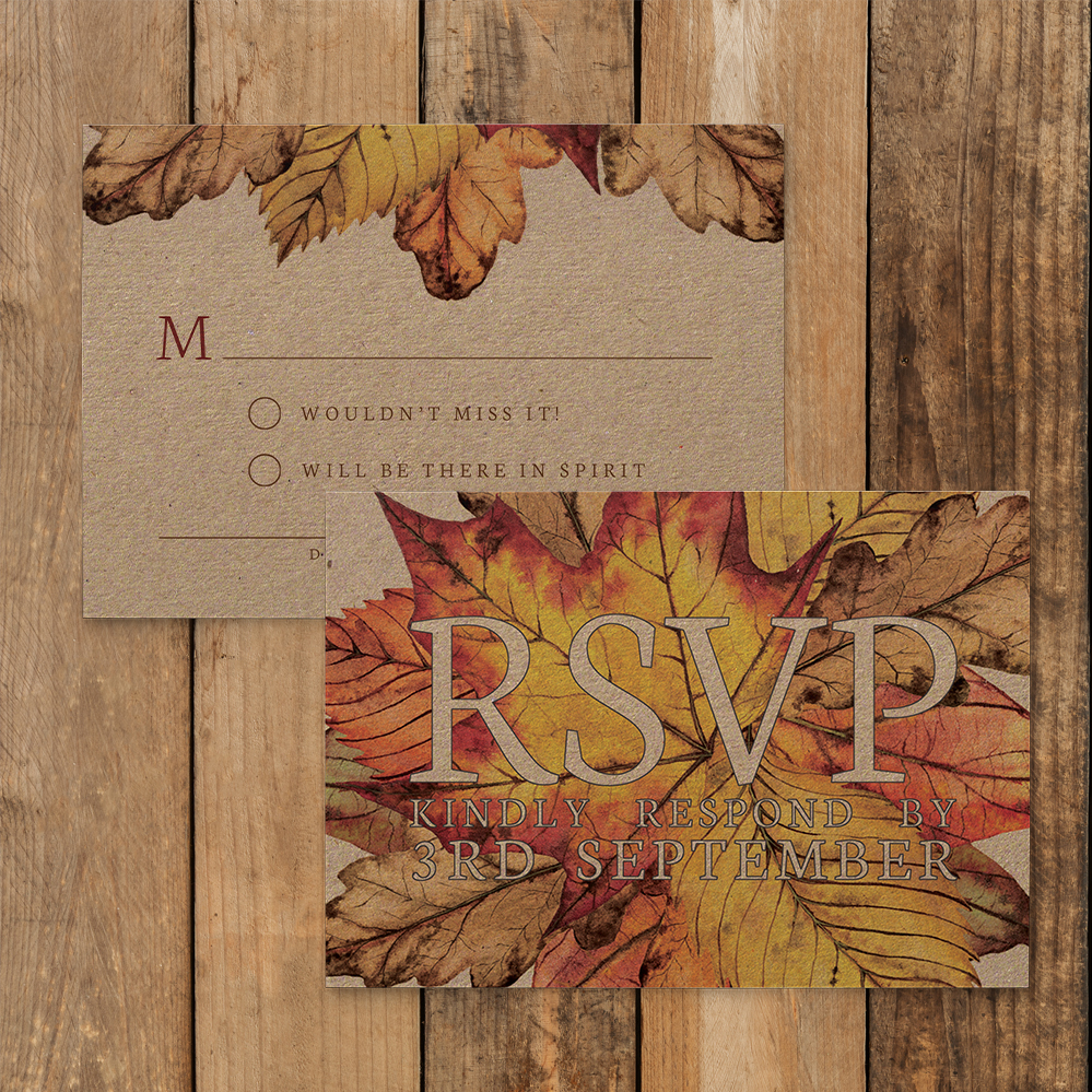 Autumn Leaves RSVP Card - watercolour painted leaves wedding stationery suite uk - Hawthorne and Ivory