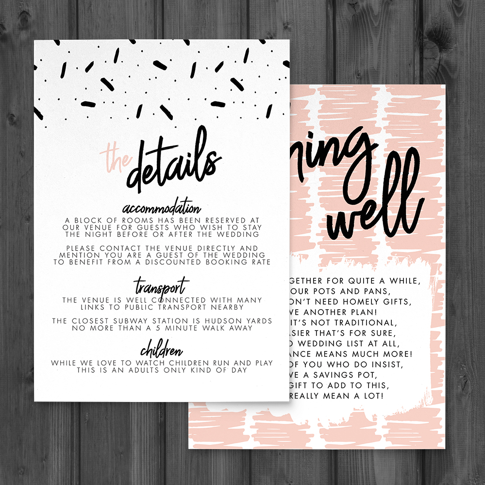 Black and Blush Details Card - bold modern graphic wedding stationery suite uk - Hawthorne and Ivory
