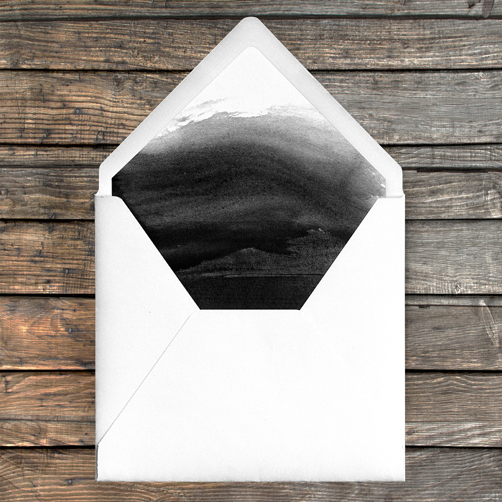 Black and White Envelope Liner - bold watercolour brushstrokes wedding stationery suite uk - Hawthorne and Ivory