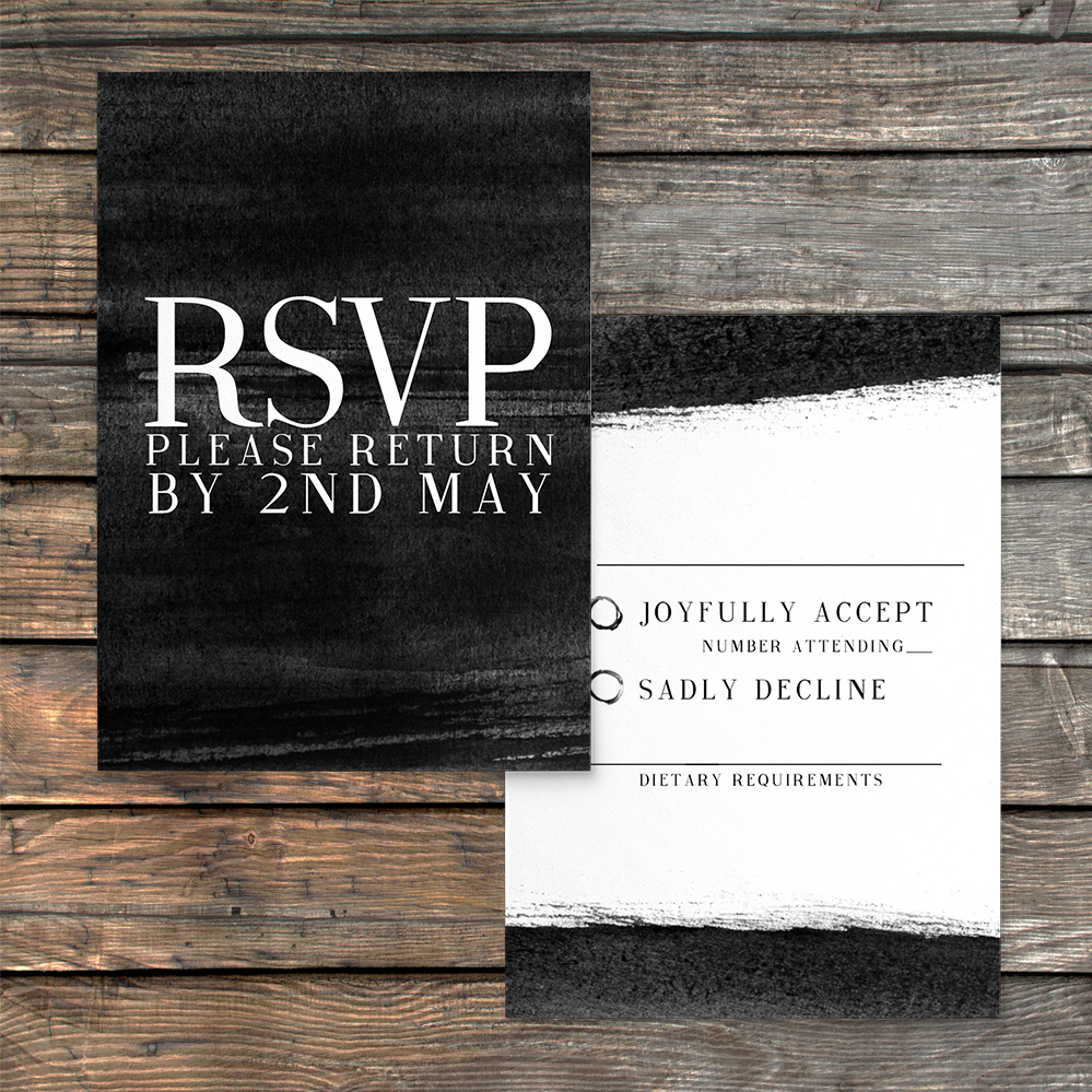 Black and White RSVP Card - bold watercolour brushstrokes wedding stationery suite uk - Hawthorne and Ivory