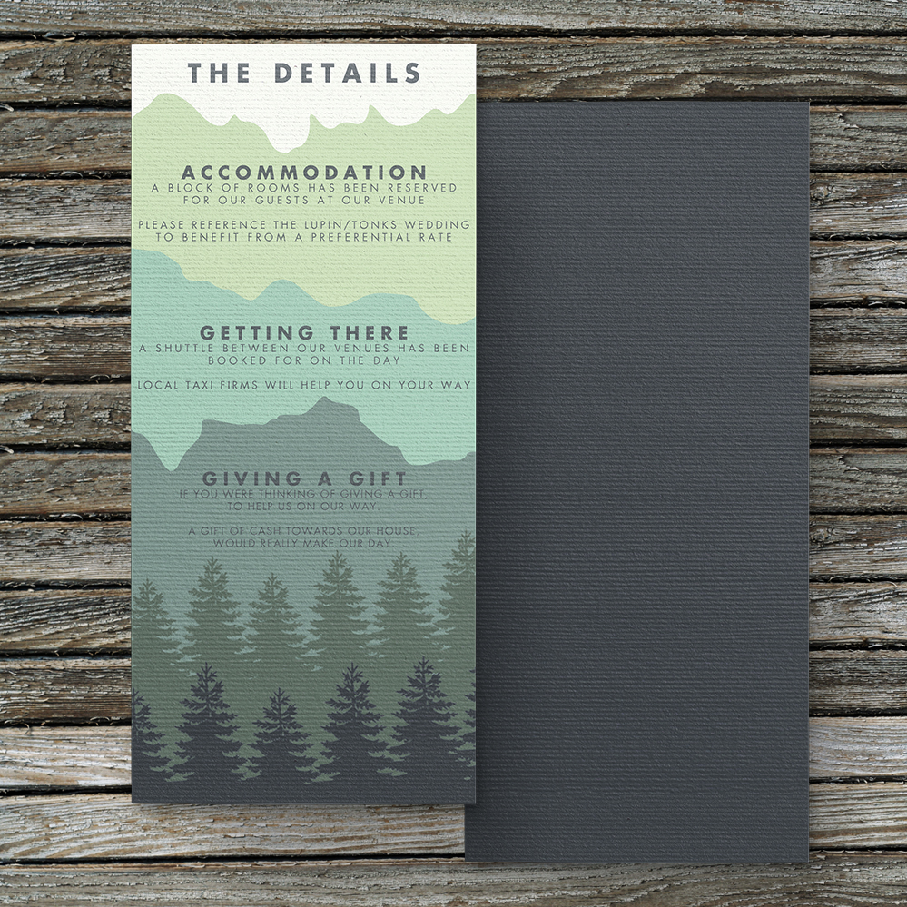 Blue Green Mountains Details Card - modern graphic outdoor wedding stationery suite uk - Hawthorne and Ivory