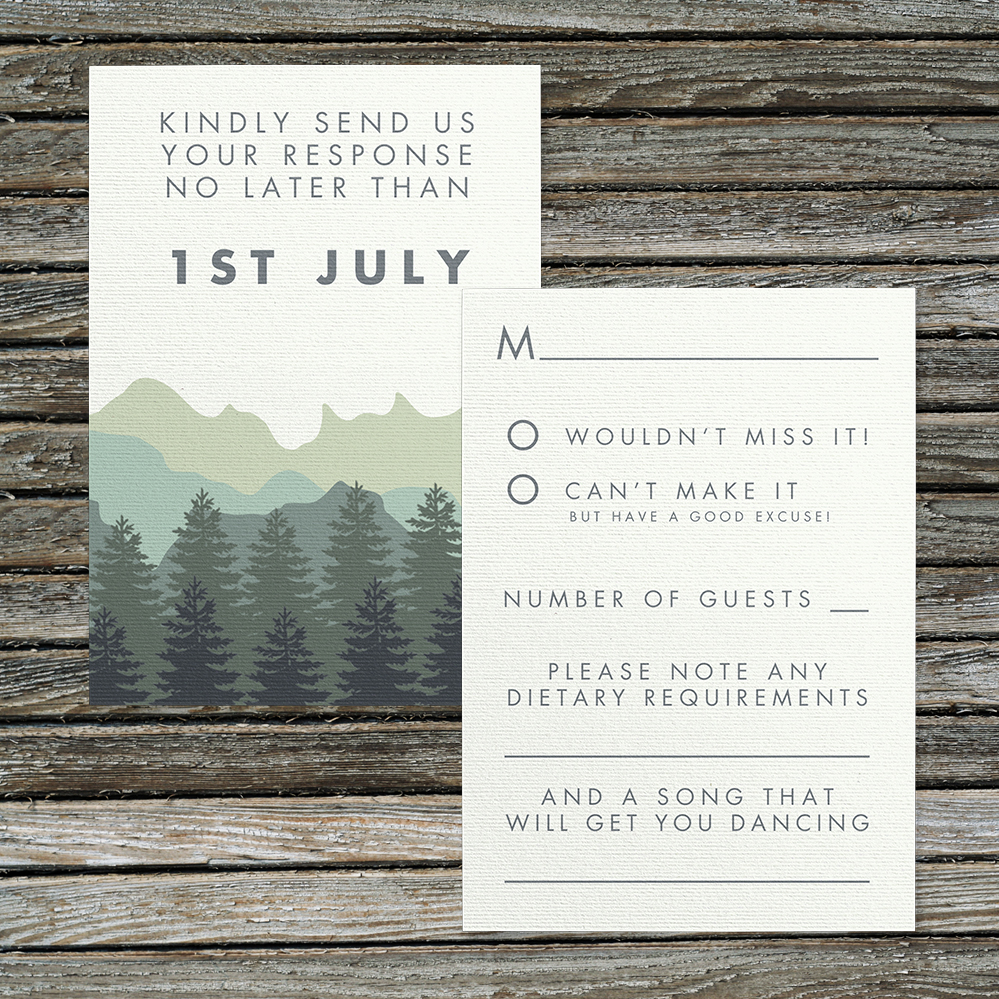 Blue Green Mountains RSVP Card - modern graphic outdoor wedding stationery suite uk - Hawthorne and Ivory