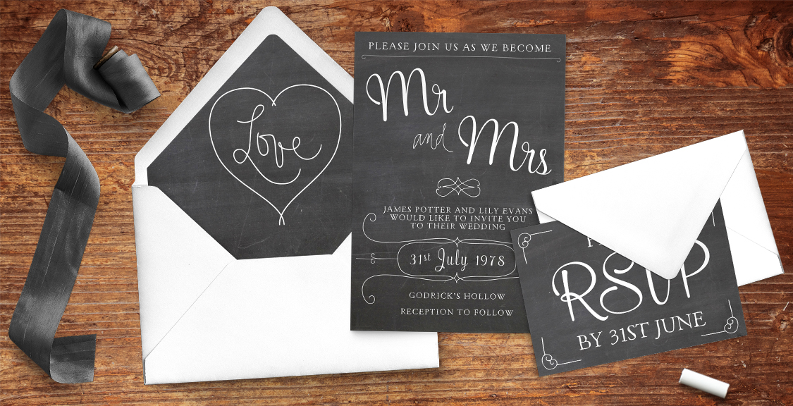 Chalkboard Invitation - rustic chalk slate grey wedding stationery suite uk - Hawthorne and Ivory