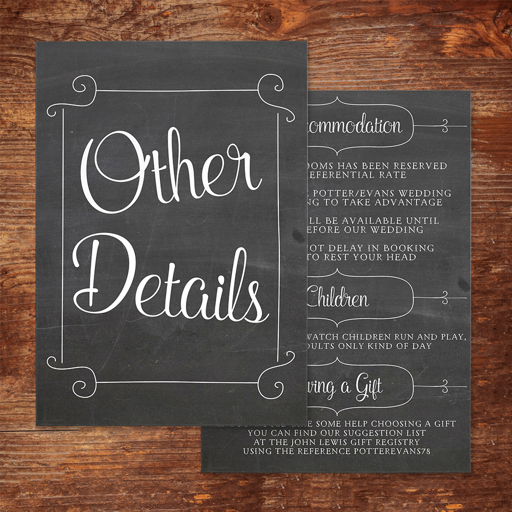 Chalkboard Details Card - rustic chalk slate grey wedding stationery suite uk - Hawthorne and Ivory