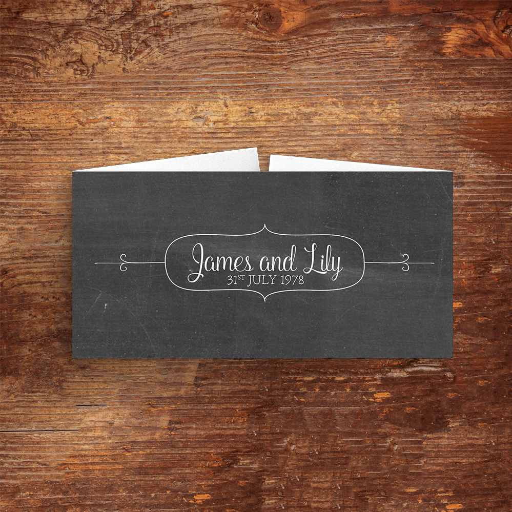 Chalkboard Belly Band - rustic chalk slate grey wedding stationery suite uk - Hawthorne and Ivory