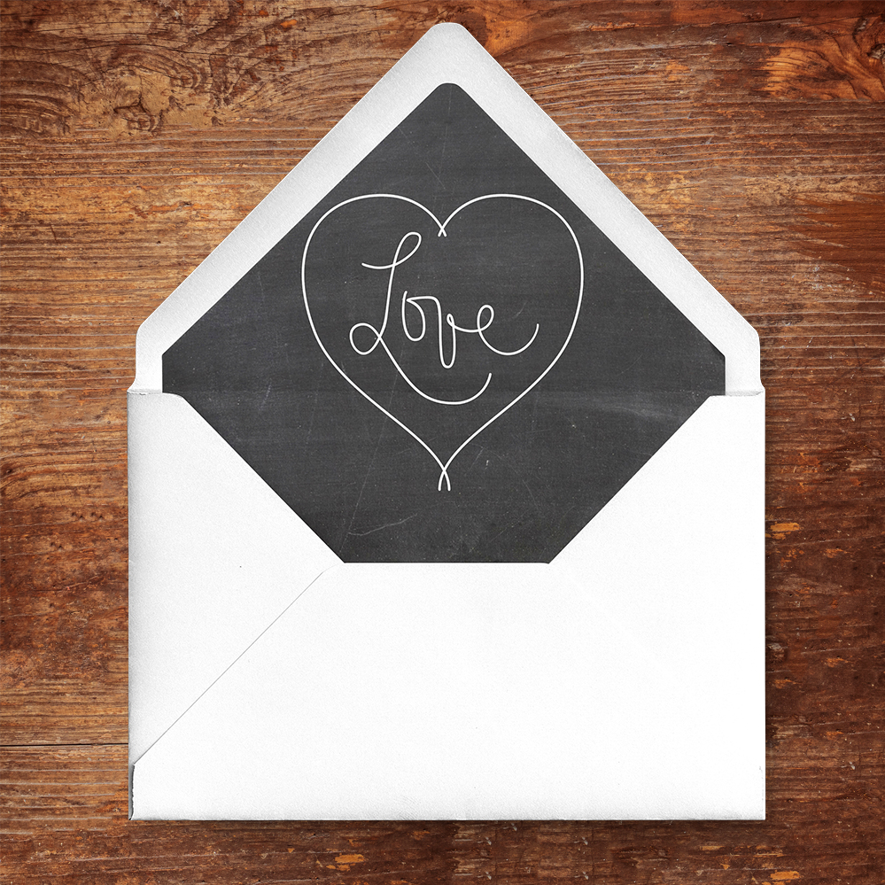 Chalkboard Envelope Liner - rustic chalk slate grey wedding stationery suite uk - Hawthorne and Ivory