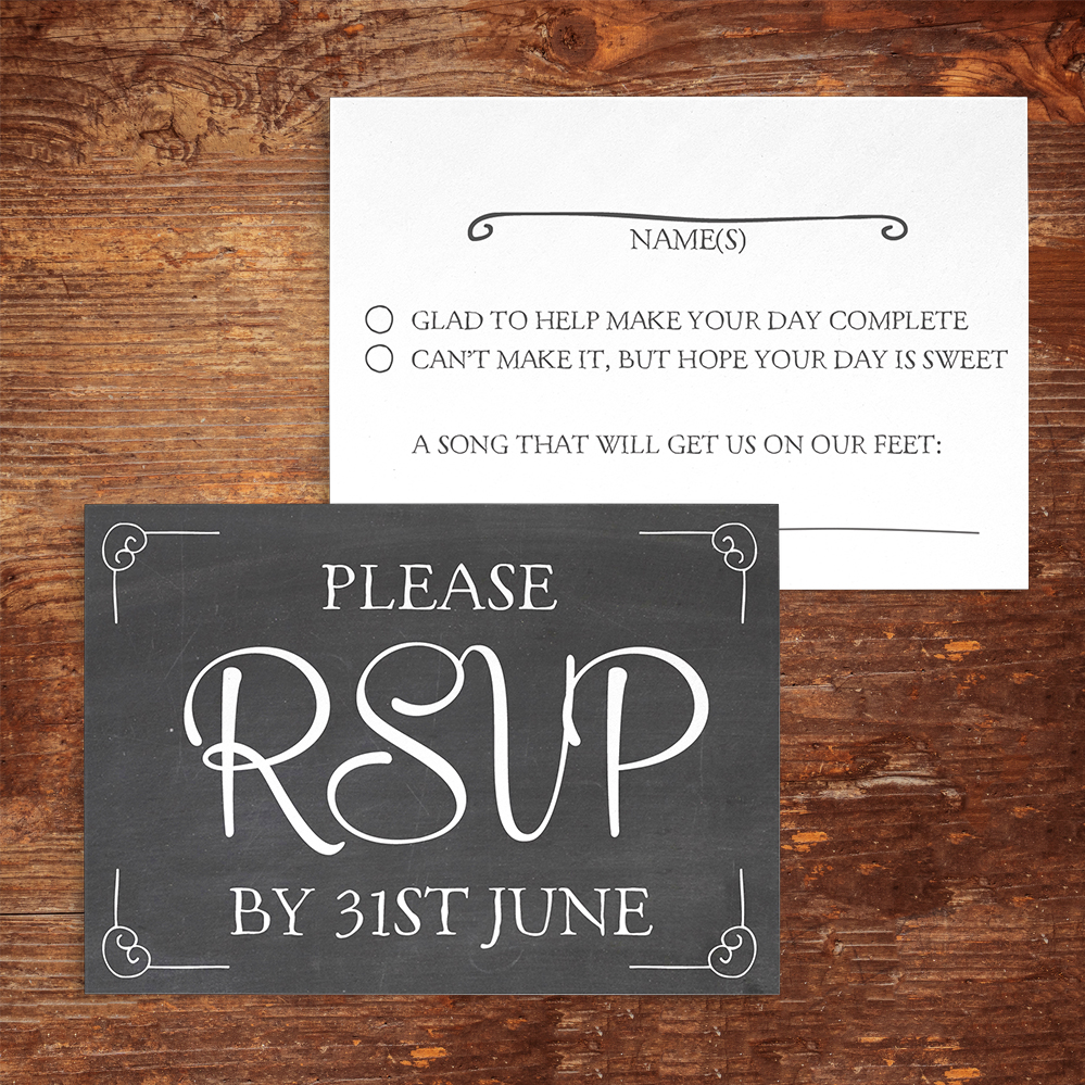 Chalkboard RSVP Card - rustic chalk slate grey wedding stationery suite uk - Hawthorne and Ivory