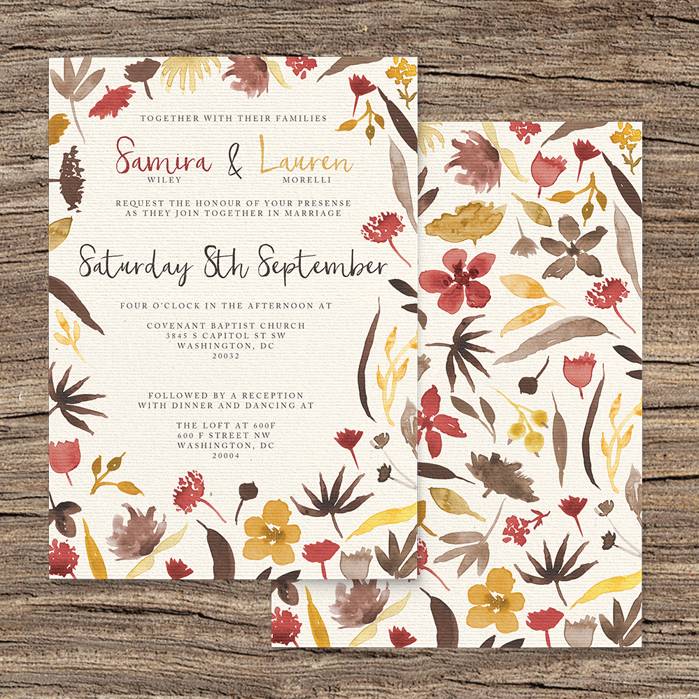 Cranberry and Mustard Invitation - burgundy red yellow autumn watercolour flowers wedding stationery suite uk - Hawthorne and Ivory