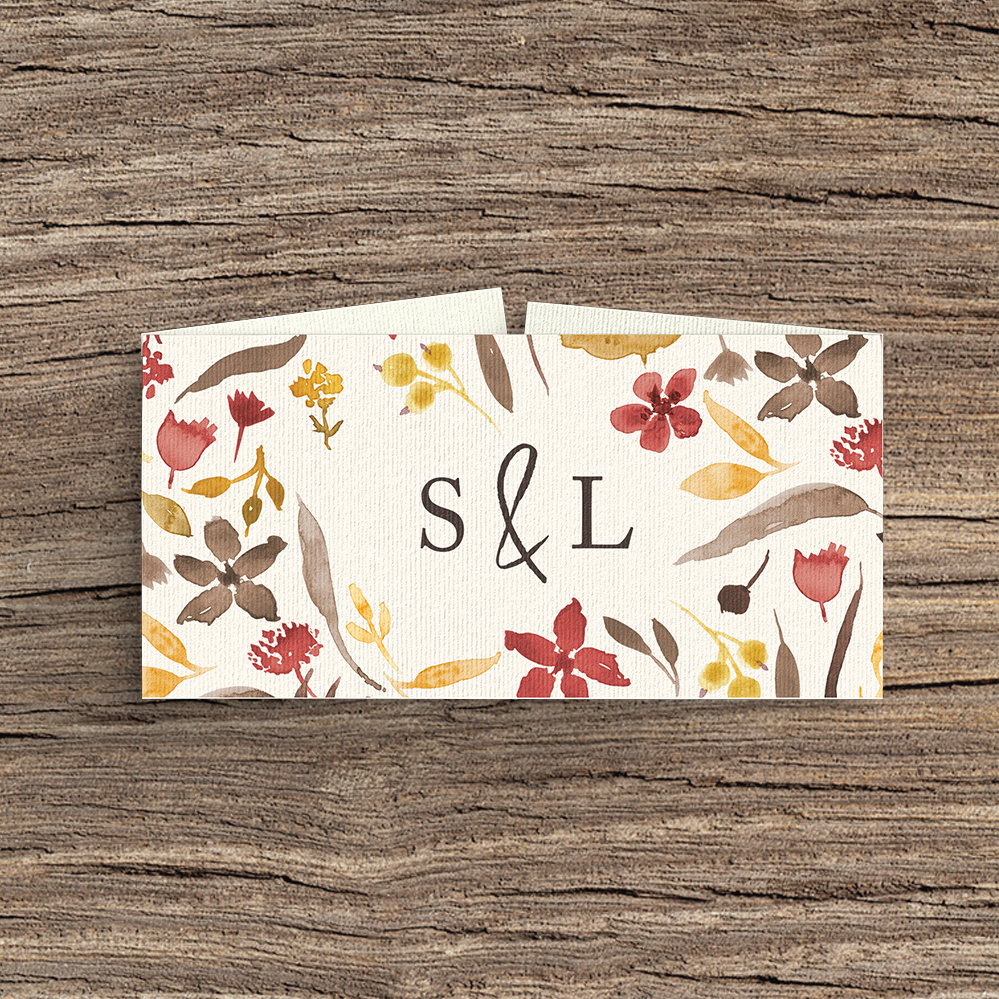 Cranberry and Mustard Belly Band - burgundy red yellow autumn watercolour flowers wedding stationery suite uk - Hawthorne and Ivory
