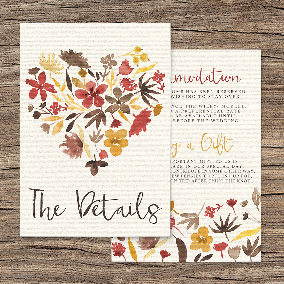 Cranberry and Mustard Details Card - burgundy red yellow autumn watercolour flowers wedding stationery suite uk - Hawthorne and Ivory