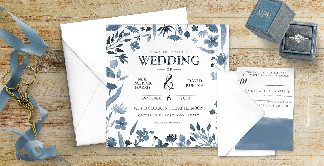 Dusky Blue Invitation - blue watercolour floral wedding stationery suite uk - Hawthorne and Ivory