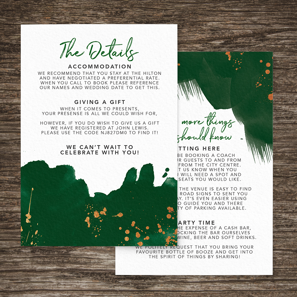 Geometric Emerald Details Card - modern green watercolour copper frame wedding stationery suite uk - Hawthorne and Ivory