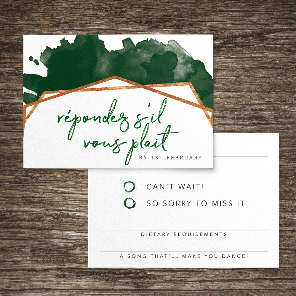 Geometric Emerald RSVP Card - modern green watercolour copper frame wedding stationery suite uk - Hawthorne and Ivory