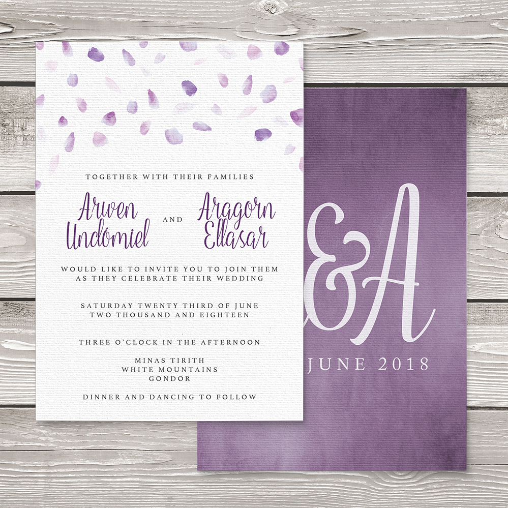 Lavender Petals Invitation - lilac pastel purple wedding stationery suite uk - Hawthorne and Ivory