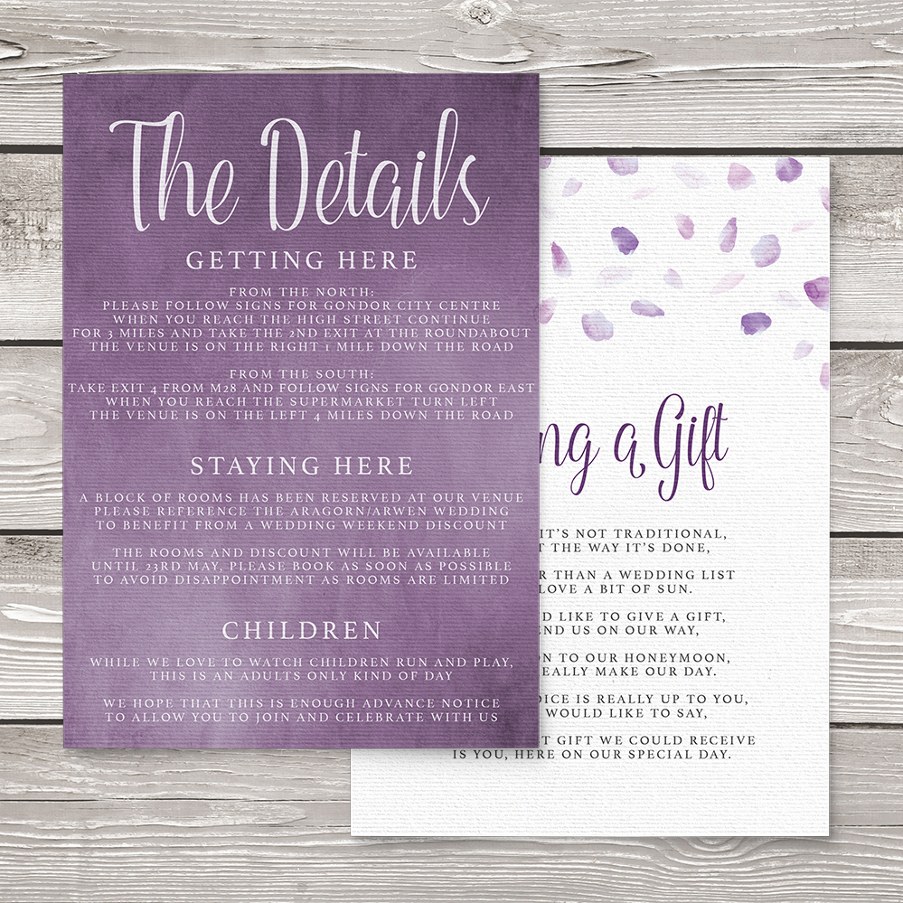 Lavender Petals Details Card - lilac pastel purple wedding stationery suite uk - Hawthorne and Ivory