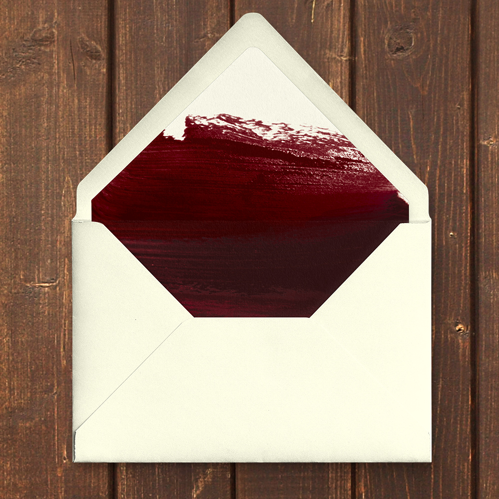 Marsala Wine Envelope Liner - burgundy red watercolour gold copper wedding stationery suite uk - Hawthorne and Ivory