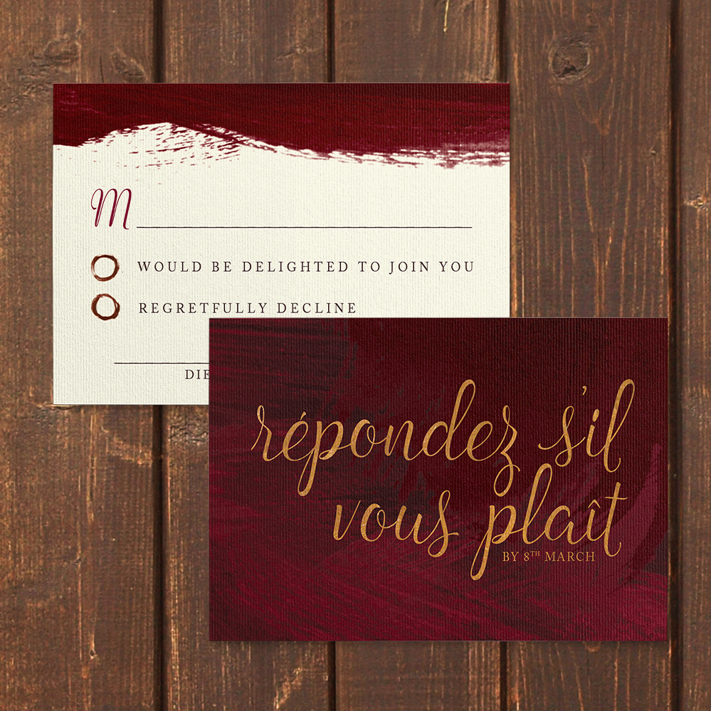 Marsala Wine RSVP Card - burgundy red watercolour gold copper wedding stationery suite uk - Hawthorne and Ivory