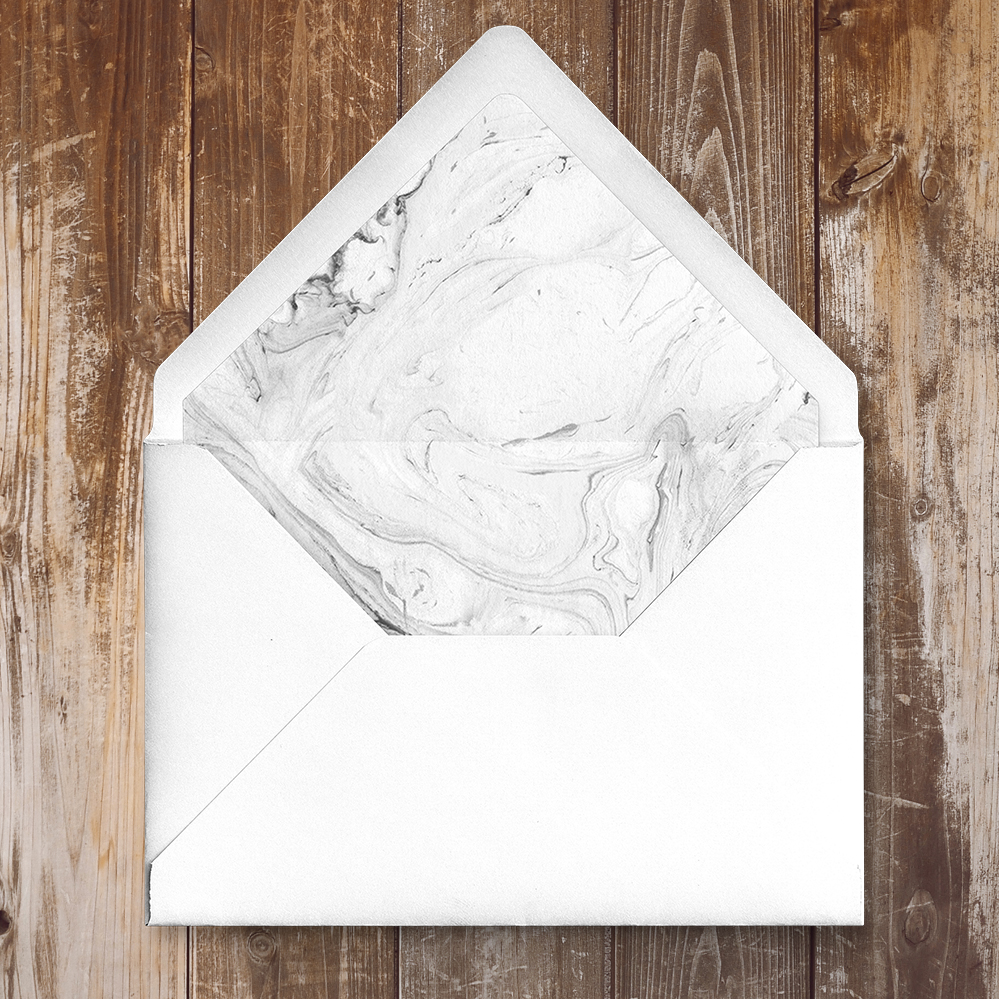 Marble Elegance Envelope Liner - grey silver watercolour marble texture wedding stationery suite uk - Hawthorne and Ivory