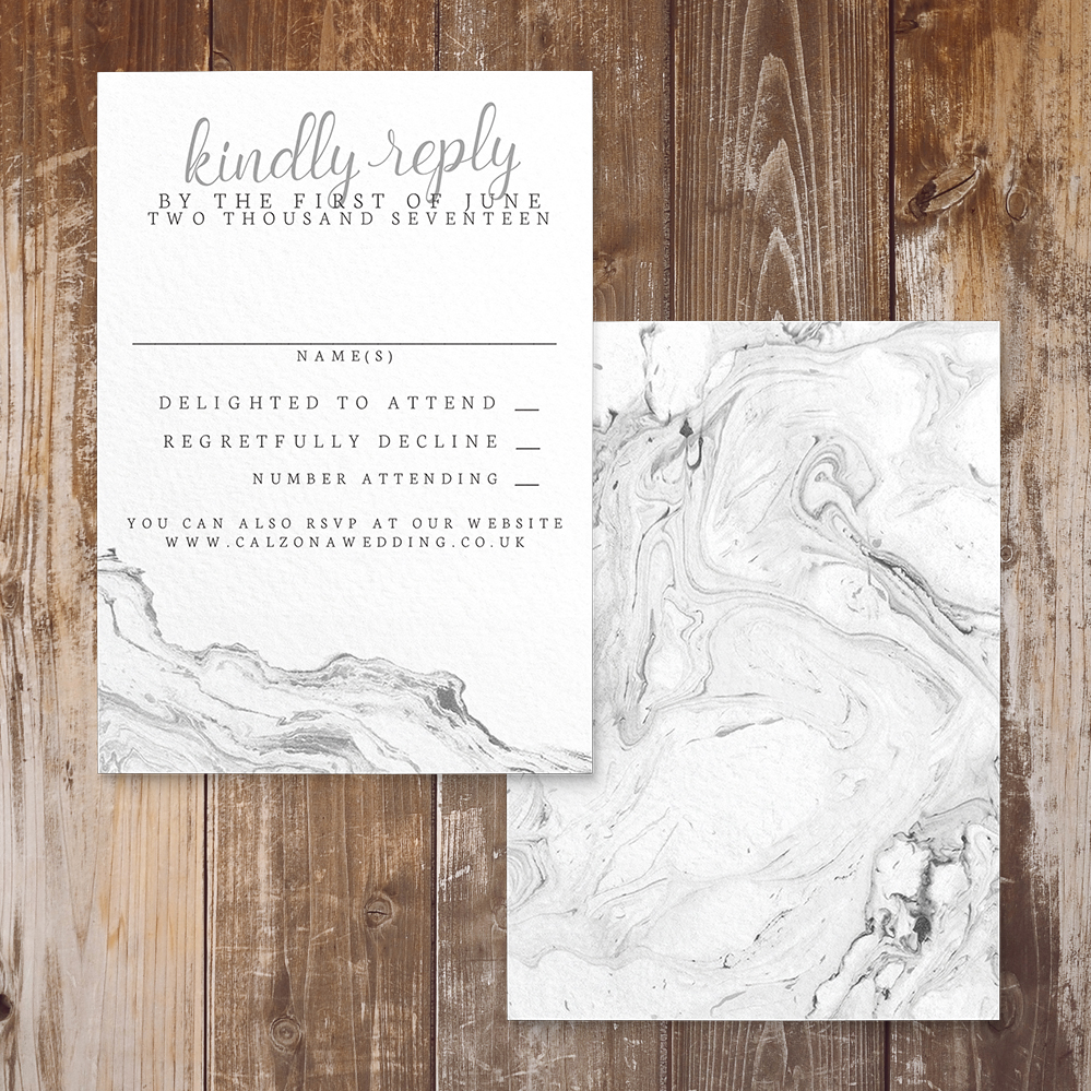 Marble Elegance RSVP Card - grey silver watercolour marble texture wedding stationery suite uk - Hawthorne and Ivory