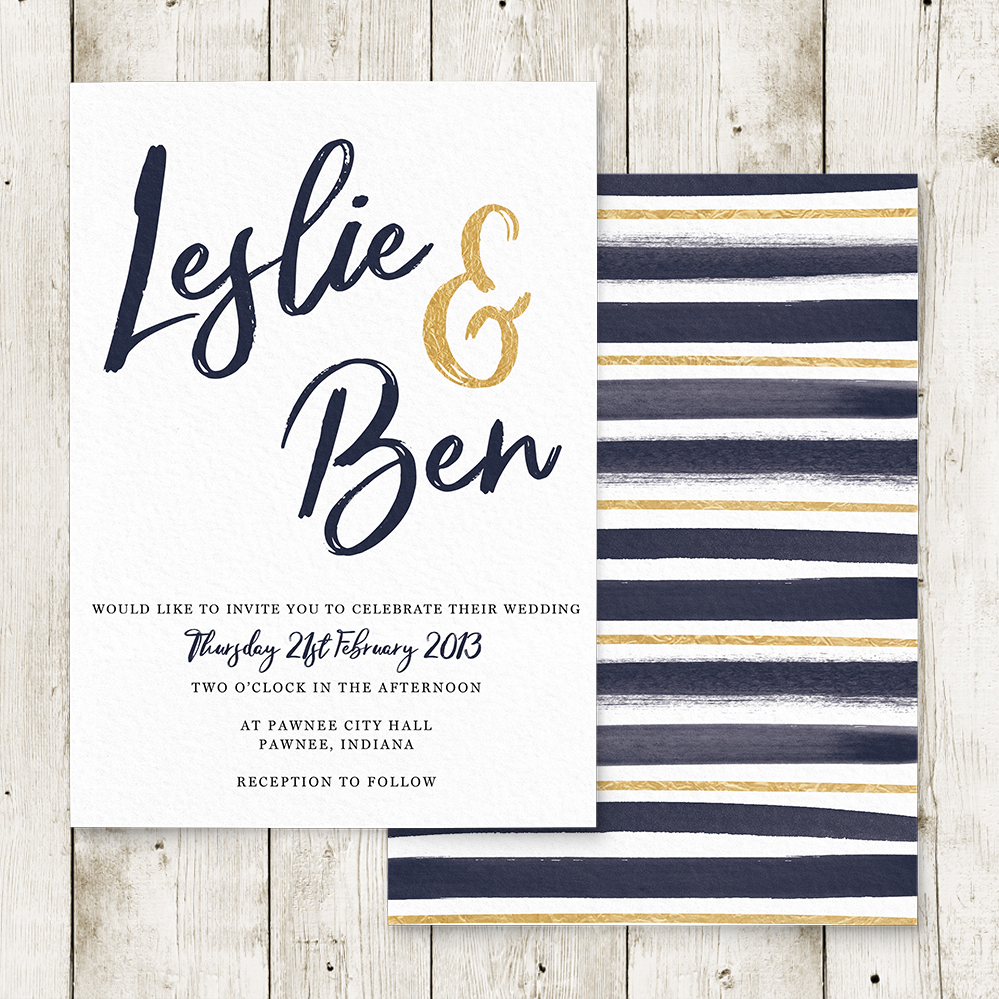 Navy and Gold Invitation - nautical stripe blue gold watercolour wedding stationery suite uk - Hawthorne and Ivory