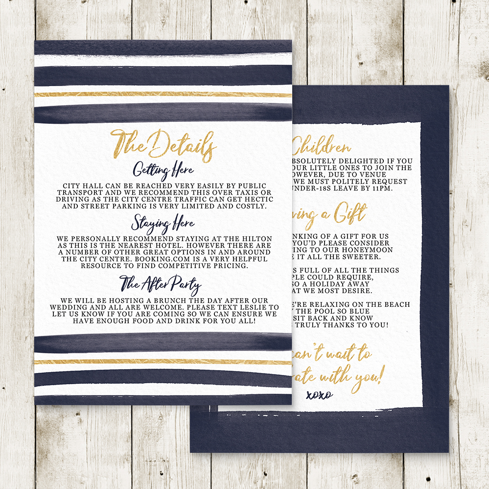 Navy and Gold Details Card - nautical stripe blue gold watercolour wedding stationery suite uk - Hawthorne and Ivory