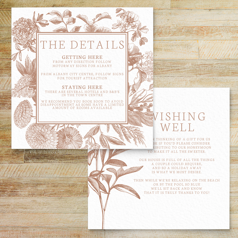 Nude Classic Details Card - vintage beige neutral floral wedding stationery suite uk - Hawthorne and Ivory
