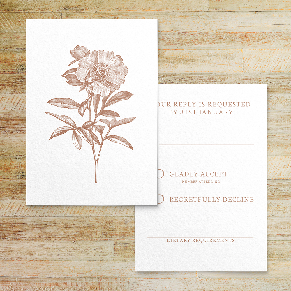 Nude Classic RSVP Card - vintage beige neutral floral wedding stationery suite uk - Hawthorne and Ivory