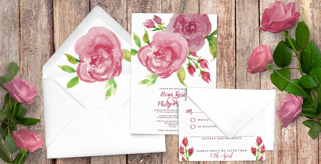 Pink Rose Invitation - watercolour floral wedding wedding stationery suite uk - Hawthorne and Ivory