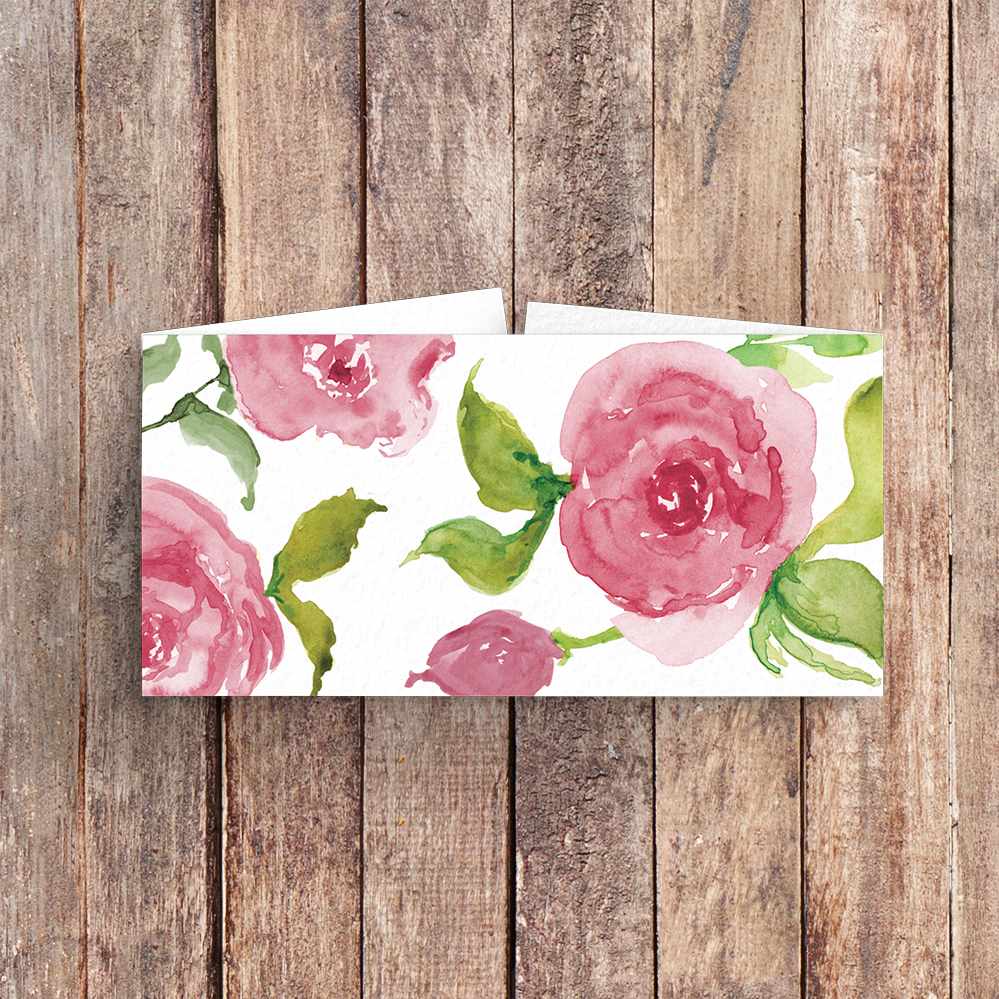 Pink Rose Belly Band - watercolour floral wedding wedding stationery suite uk - Hawthorne and Ivory