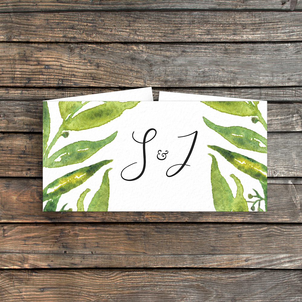 Olive Branch Belly Band - greenery watercolour leaf greek wedding wedding stationery suite uk - Hawthorne and Ivory