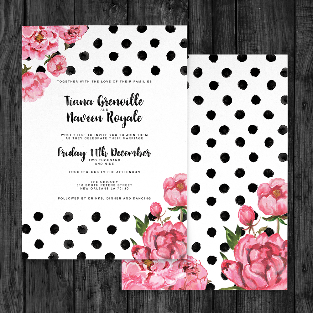 Polka Dot Peony Invitation - watercolour pink floral wedding wedding stationery suite uk - Hawthorne and Ivory