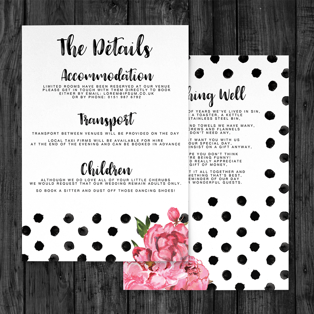 Polka Dot Peony Details Card - watercolour pink floral wedding wedding stationery suite uk - Hawthorne and Ivory