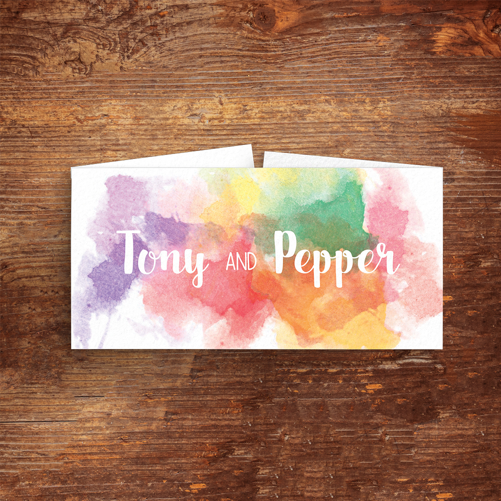 Rainbow Drops Belly Band - colourful watercolour painted polka dot wedding wedding stationery suite uk - Hawthorne and Ivory