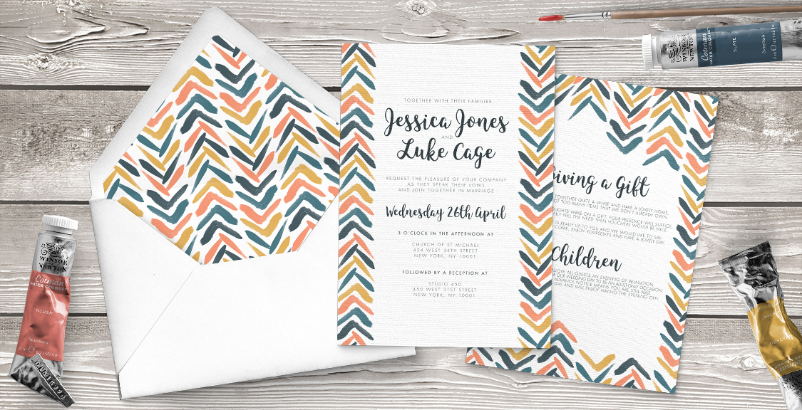 Retro Chic Invitation - painted chevron modern mustard slate blue coral peach wedding wedding stationery suite uk - Hawthorne and Ivory