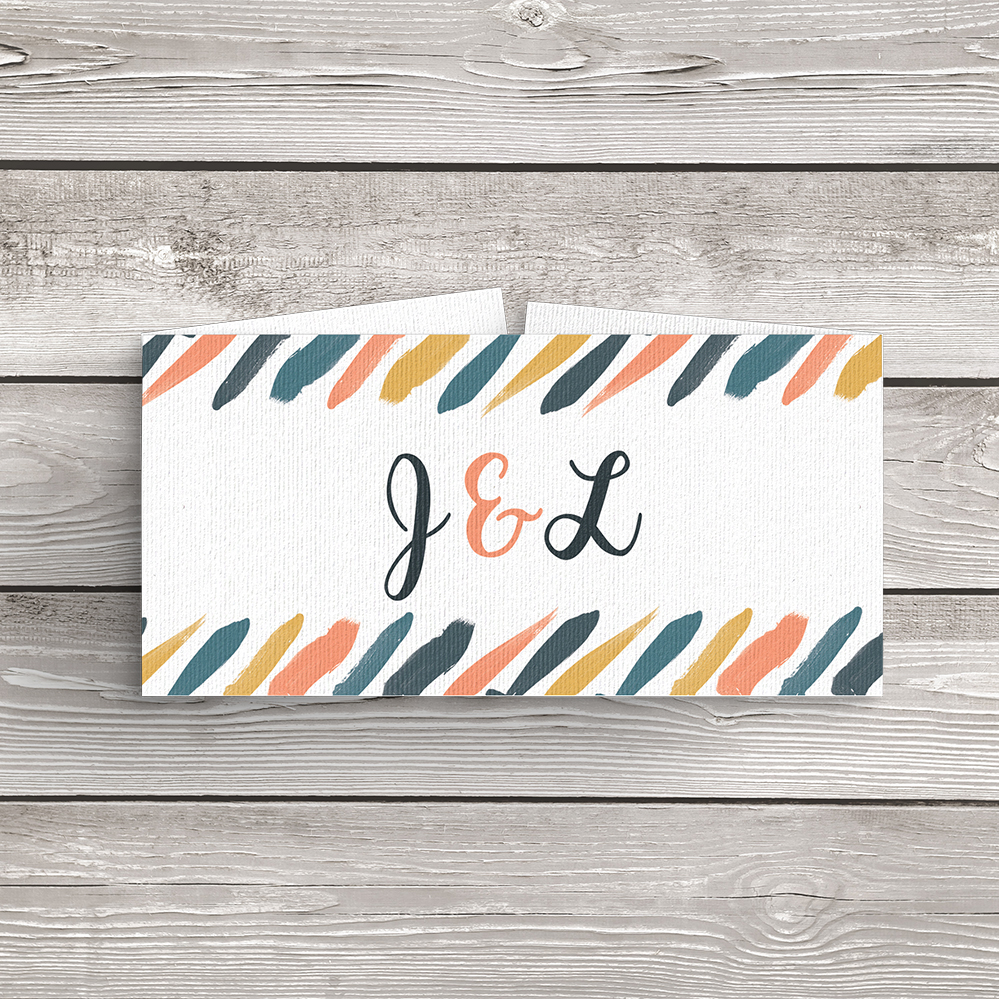 Retro Chic Belly Band - painted chevron modern mustard slate blue coral peach wedding wedding stationery suite uk - Hawthorne and Ivory