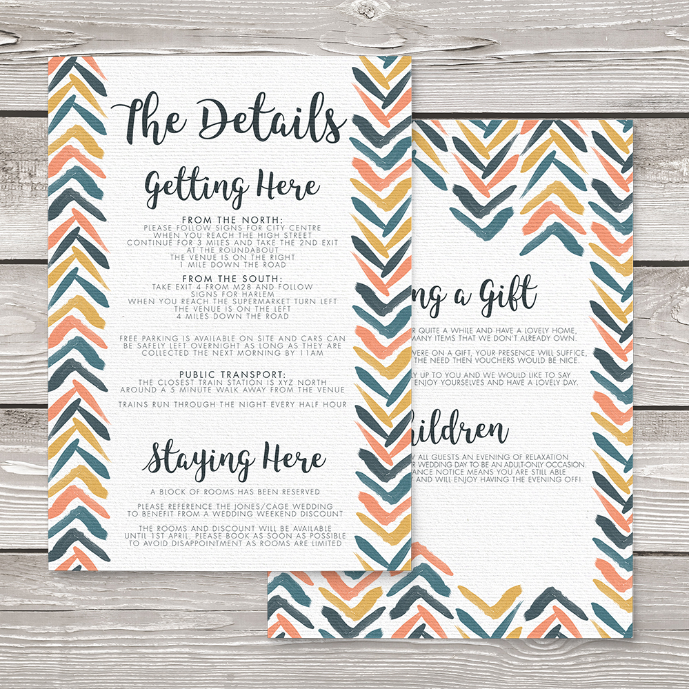 Retro Chic Details Card - painted chevron modern mustard slate blue coral peach wedding wedding stationery suite uk - Hawthorne and Ivory