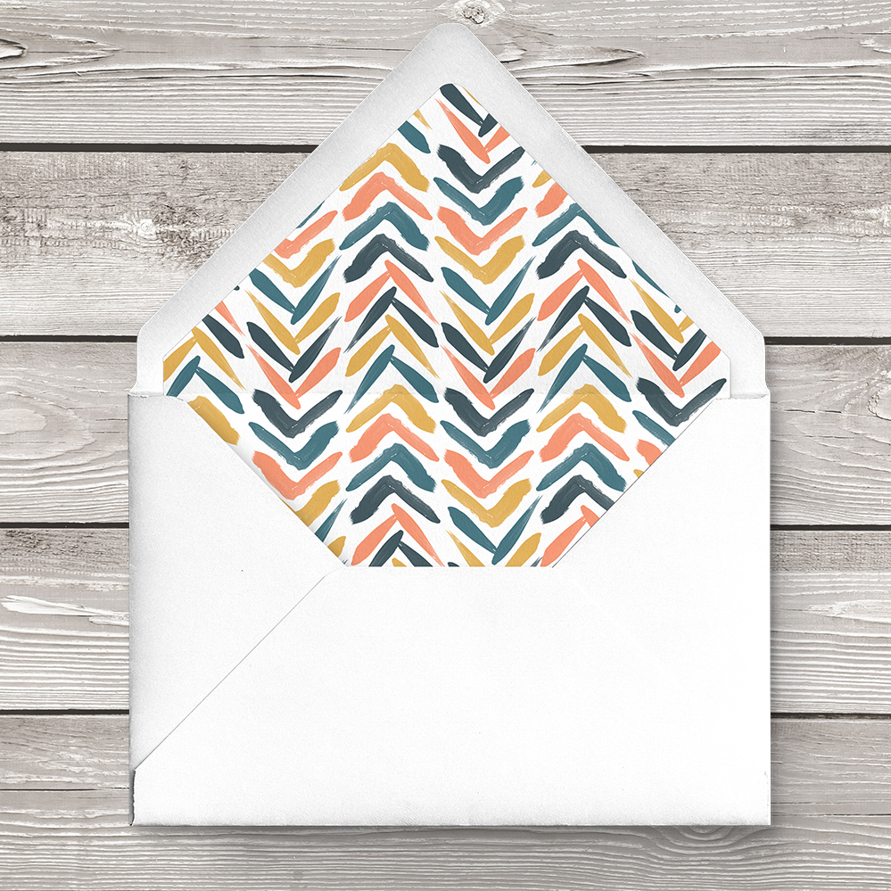 Retro Chic Envelope Liner - painted chevron modern mustard slate blue coral peach wedding wedding stationery suite uk - Hawthorne and Ivory