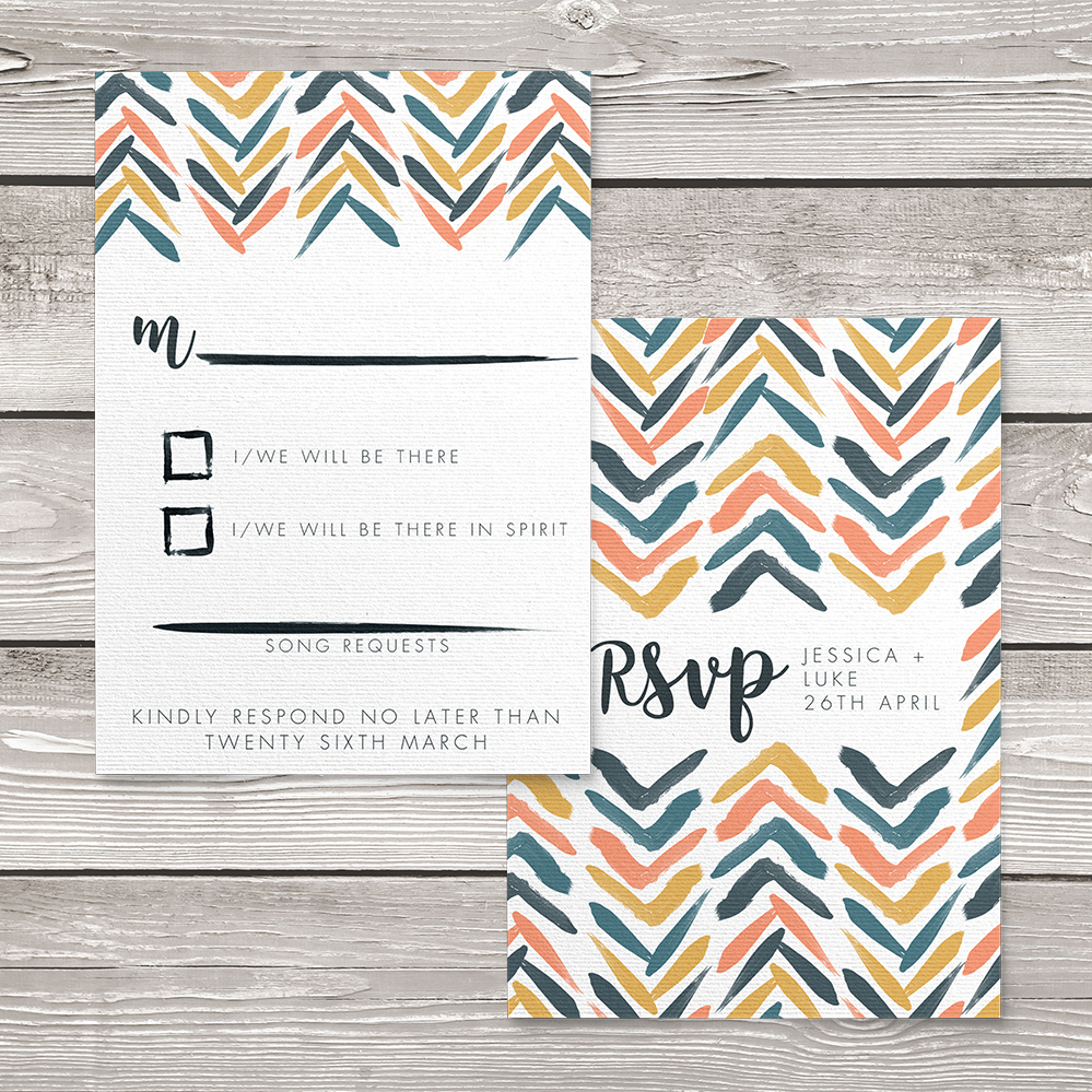 Retro Chic RSVP Card - painted chevron modern mustard slate blue coral peach wedding wedding stationery suite uk - Hawthorne and Ivory