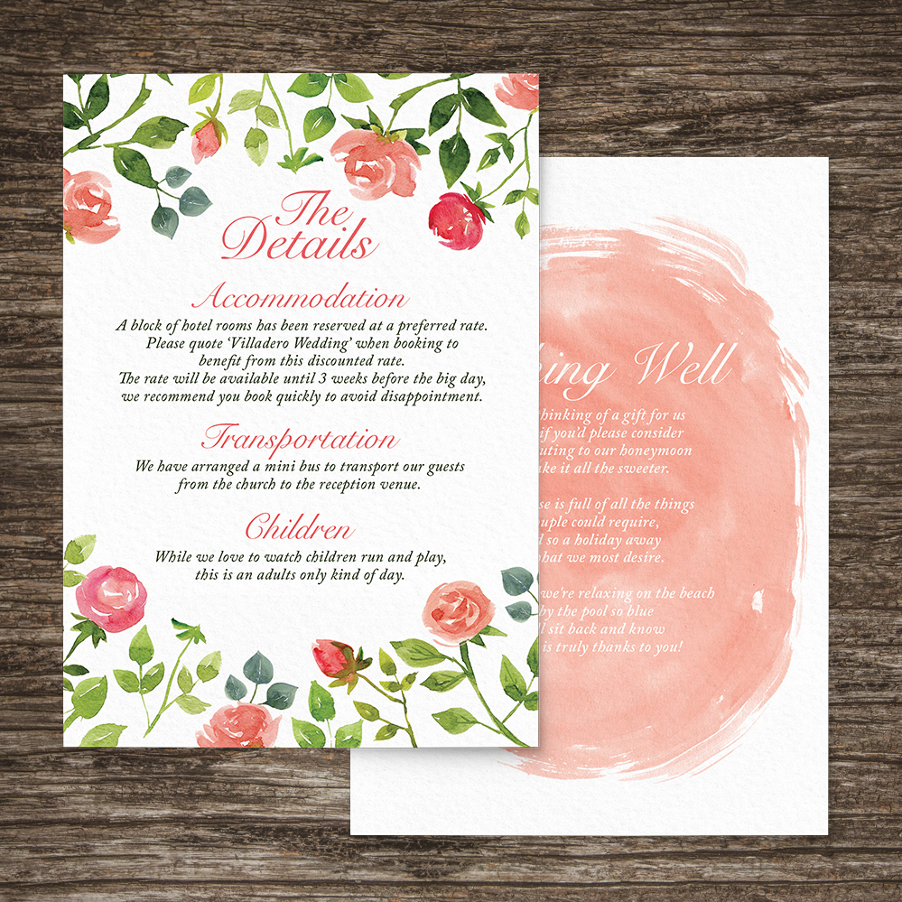 Rose Bush Details Card - peach pink roses watercolour wedding wedding stationery suite uk - Hawthorne and Ivory