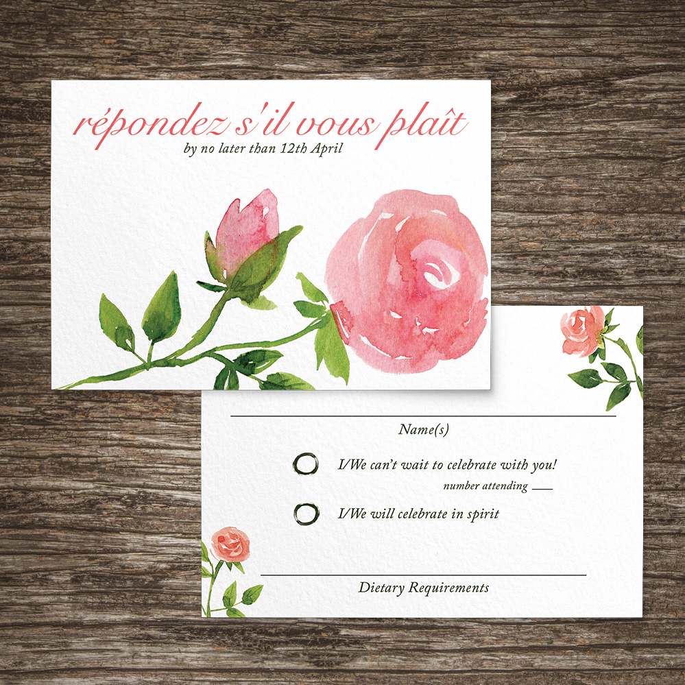 Rose Bush RSVP Card - peach pink roses watercolour wedding wedding stationery suite uk - Hawthorne and Ivory