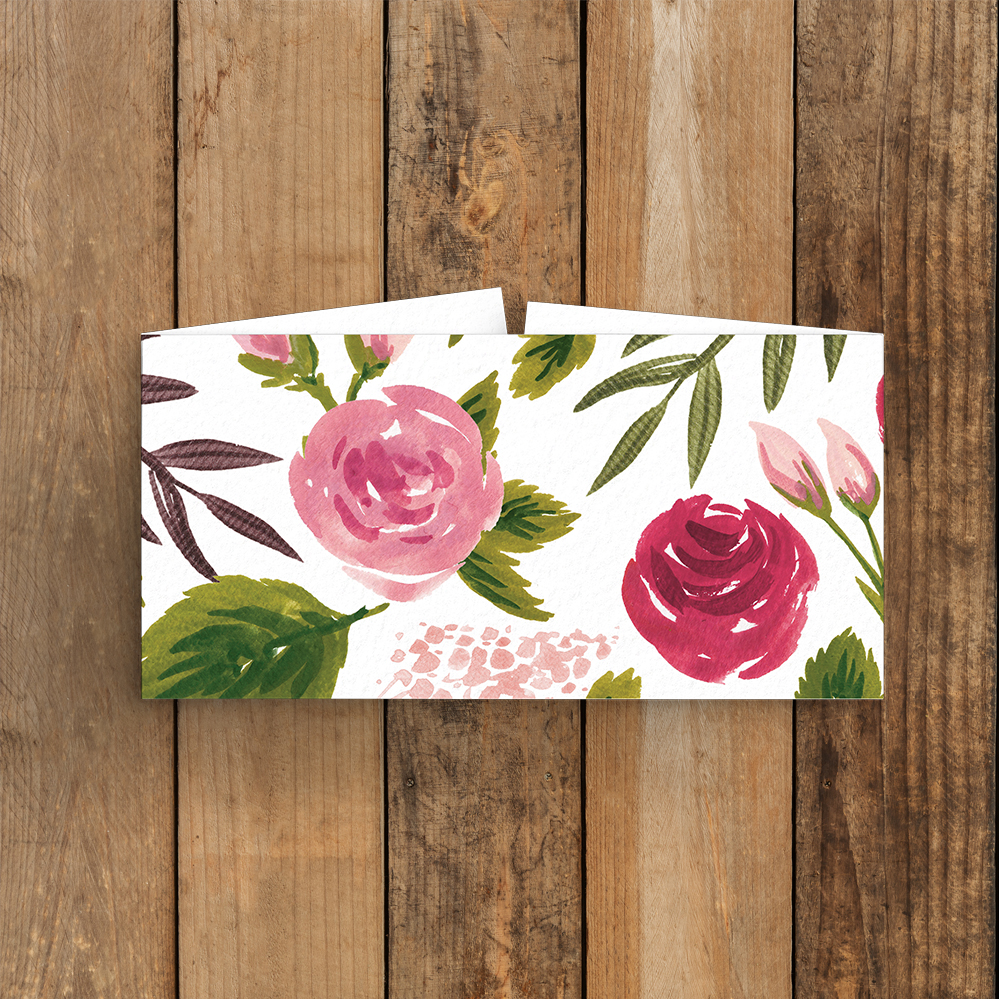 Rustic Rose Belly Band - red pink roses watercolour wedding wedding stationery suite uk - Hawthorne and Ivory
