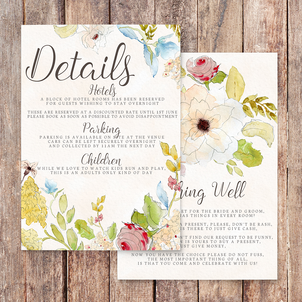 Shabby Chic Floral Details Card - watercolour flowers rose wedding wedding stationery suite uk - Hawthorne and Ivory