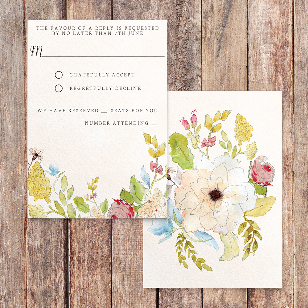 Shabby Chic Floral RSVP Card - watercolour flowers rose wedding wedding stationery suite uk - Hawthorne and Ivory