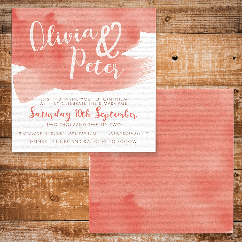 Soft Peach Invitation - watercolour painted coral simple wedding wedding stationery suite uk - Hawthorne and Ivory