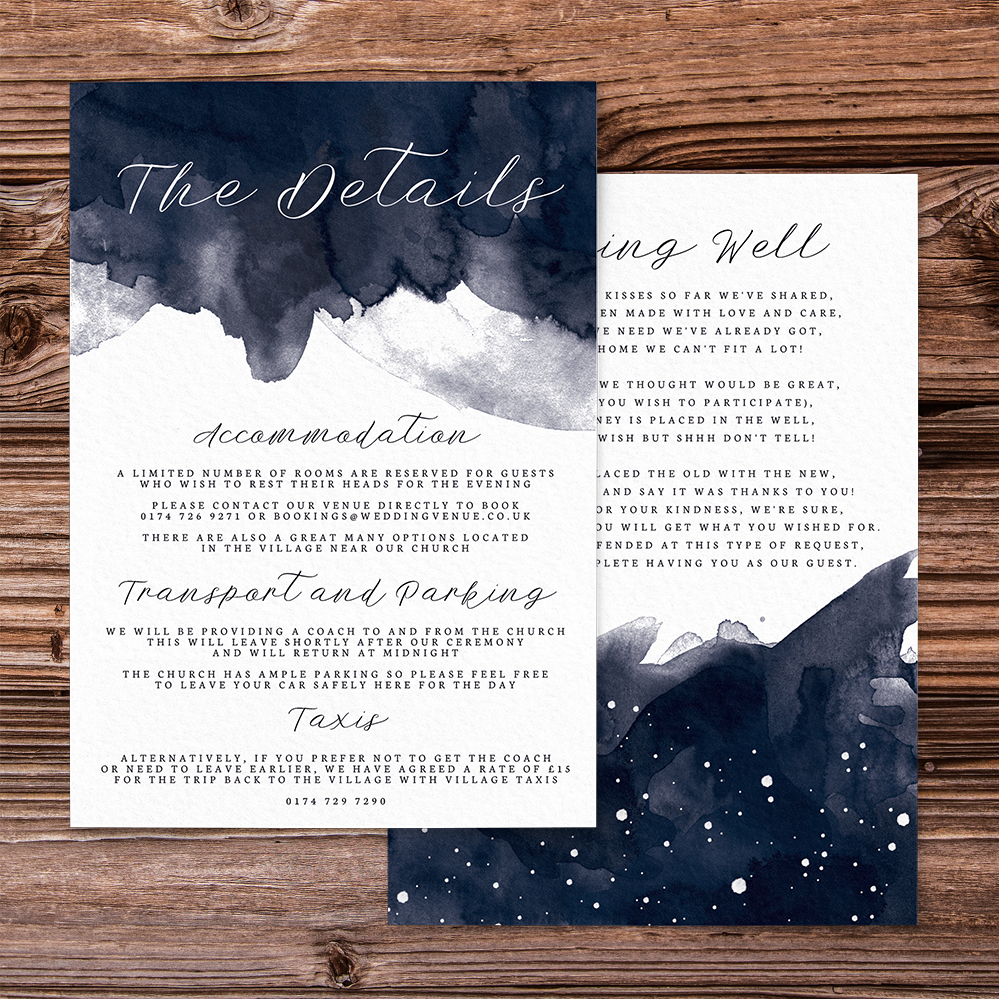 Starry Night Details Card - watercolour celestial stars constellation moon navy wedding wedding stationery suite uk - Hawthorne and Ivory