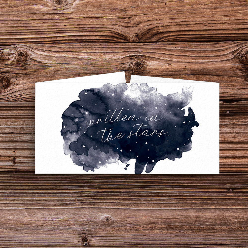 Starry Night Belly Band - watercolour celestial stars constellation moon navy wedding wedding stationery suite uk - Hawthorne and Ivory